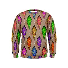 Abstract Background Colorful Leaves Kids  Sweatshirt
