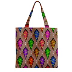 Abstract Background Colorful Leaves Zipper Grocery Tote Bag