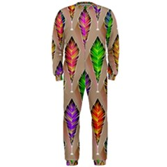 Abstract Background Colorful Leaves Onepiece Jumpsuit (men)