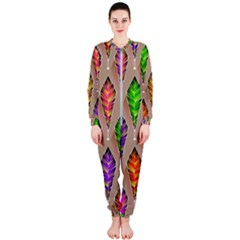 Abstract Background Colorful Leaves Onepiece Jumpsuit (ladies)