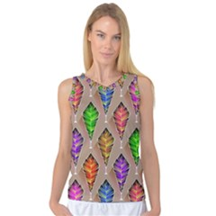Abstract Background Colorful Leaves Women s Basketball Tank Top