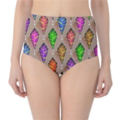 Abstract Background Colorful Leaves High Waist Bikini Bottoms