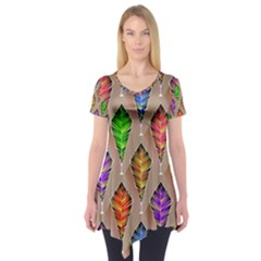 Abstract Background Colorful Leaves Short Sleeve Tunic