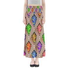 Abstract Background Colorful Leaves Full Length Maxi Skirt