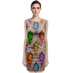 Abstract Background Colorful Leaves Classic Sleeveless Midi Dress