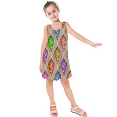 Abstract Background Colorful Leaves Kids  Sleeveless Dress