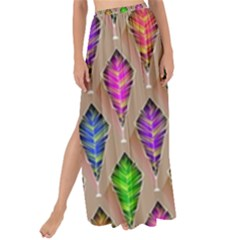 Abstract Background Colorful Leaves Maxi Chiffon Tie Up Sarong