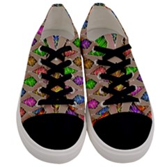 Abstract Background Colorful Leaves Men s Low Top Canvas Sneakers