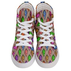Abstract Background Colorful Leaves Women s Hi Top Skate Sneakers