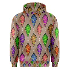 Abstract Background Colorful Leaves Men s Overhead Hoodie