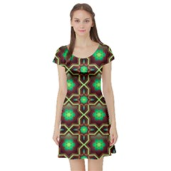 Pattern Background Bright Brown Short Sleeve Skater Dress