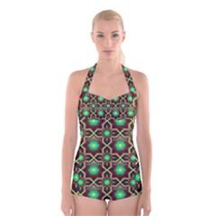 Pattern Background Bright Brown Boyleg Halter Swimsuit