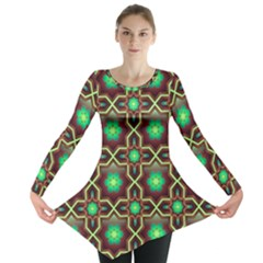 Pattern Background Bright Brown Long Sleeve Tunic