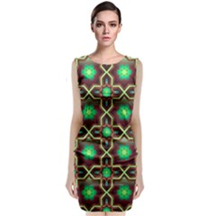 Pattern Background Bright Brown Classic Sleeveless Midi Dress