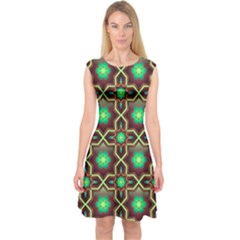 Pattern Background Bright Brown Capsleeve Midi Dress