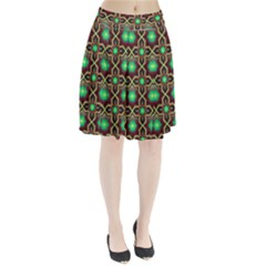 Pattern Background Bright Brown Pleated Skirt