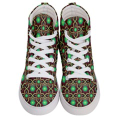 Pattern Background Bright Brown Women s Hi Top Skate Sneakers