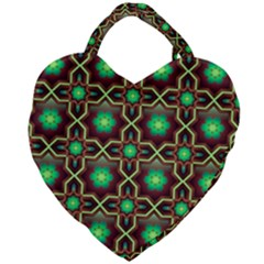Pattern Background Bright Brown Giant Heart Shaped Tote