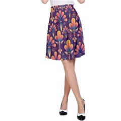 Abstract Background Floral Pattern A Line Skirt