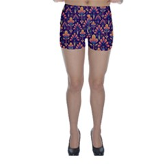 Abstract Background Floral Pattern Skinny Shorts