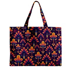 Abstract Background Floral Pattern Zipper Mini Tote Bag