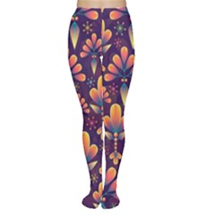 Abstract Background Floral Pattern Women s Tights