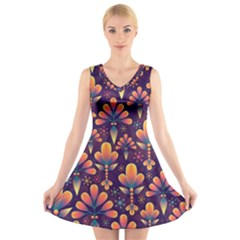 Abstract Background Floral Pattern V Neck Sleeveless Skater Dress