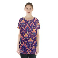 Abstract Background Floral Pattern Skirt Hem Sports Top