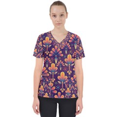 Abstract Background Floral Pattern Scrub Top