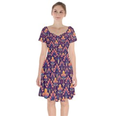 Abstract Background Floral Pattern Short Sleeve Bardot Dress