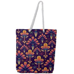 Abstract Background Floral Pattern Full Print Rope Handle Tote (large)
