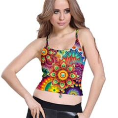 Colorful Abstract Background Colorful Spaghetti Strap Bra Top