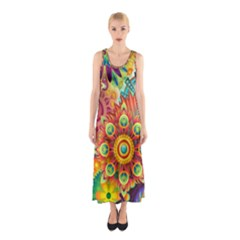 Colorful Abstract Background Colorful Sleeveless Maxi Dress