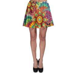 Colorful Abstract Background Colorful Skater Skirt