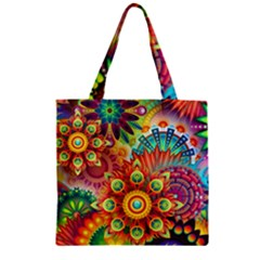 Colorful Abstract Background Colorful Zipper Grocery Tote Bag