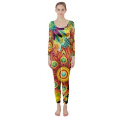 Colorful Abstract Background Colorful Long Sleeve Catsuit