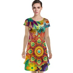 Colorful Abstract Background Colorful Cap Sleeve Nightdress