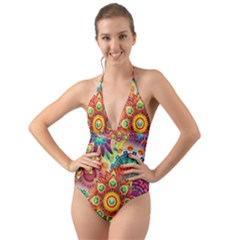 Colorful Abstract Background Colorful Halter Cut Out One Piece Swimsuit