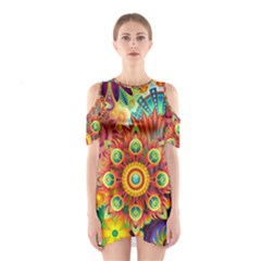 Colorful Abstract Background Colorful Shoulder Cutout One Piece