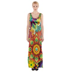 Colorful Abstract Background Colorful Maxi Thigh Split Dress