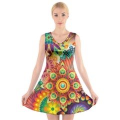 Colorful Abstract Background Colorful V Neck Sleeveless Skater Dress
