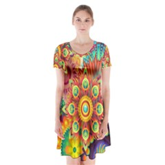 Colorful Abstract Background Colorful Short Sleeve V Neck Flare Dress