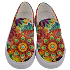 Colorful Abstract Background Colorful Men s Canvas Slip Ons