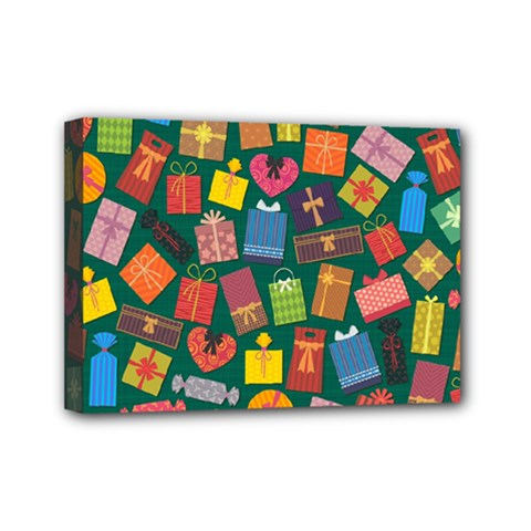 Presents Gifts Background Colorful Mini Canvas 7  X 5