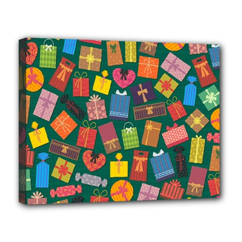 Presents Gifts Background Colorful Canvas 14  X 11
