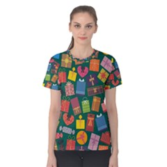 Presents Gifts Background Colorful Women s Cotton Tee