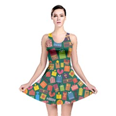 Presents Gifts Background Colorful Reversible Skater Dress