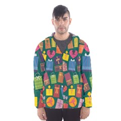 Presents Gifts Background Colorful Hooded Wind Breaker (men)