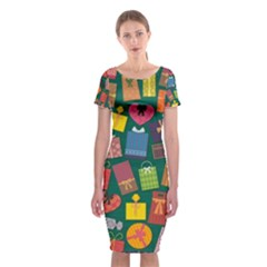 Presents Gifts Background Colorful Classic Short Sleeve Midi Dress