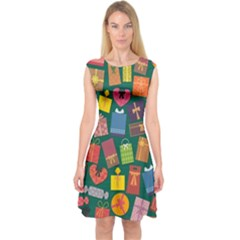 Presents Gifts Background Colorful Capsleeve Midi Dress